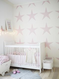 Kids room Stencil  of pattern very soothing  simple, stars @thedailybasics  ♥♥♥