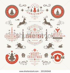 Merry Christmas And Happy New Year Wishes Typographic Labels and Badges set…