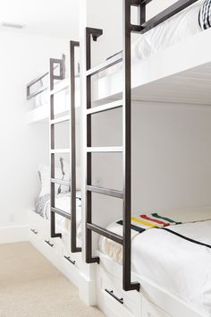 Boys' Bunks || Studio McGee  Love the black & white gingham (Serena & Lily) with a touch of color from the Pendleton throw
