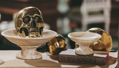 @Noirfurniture Brass Skull and Onyx Bowls