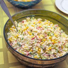 ensaladilla de arroz Canapes, Coco, Pasta Salad, Tapas, Panna Cotta, Grains, Snack Recipes, Vegetables, Cooking