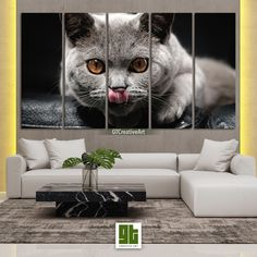 Hungry Kitten, Multi Panel Framed Canvas Set, Cat Licking Nose Home Wall Art, Cat with Brown Eyes HD Print Decor, Pet Animal Decoration Gift by GTCreativeArt on Etsy Bird Wall Art, Home Wall Art, Framed Canvas, Canvas Wall Art, Forest Decor, Fairy Tree, Custom Canvas Prints, Fantasy Forest, Animal Decor