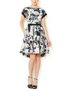 Marchesa Voyage Silk Twill Flounce Dress
