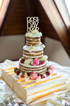 Best Day Ever Naked Wedding Cake