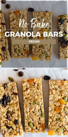 Recipes Snacks Bars A healthy no-bake granola bar made with your choice of flavors and mix ins! A good vegan granola bar with chocolate, cherries, apricots, or coconut! Add nuts and seeds as desired. Vegan Granola Bars, No Bake Granola Bars, Gluten Free Granola, Homemade Granola Bars, Homemade Kind Bars, Healthy Bars, Healthy Vegan Snacks, Healthy Sweets, Healthy No Bake