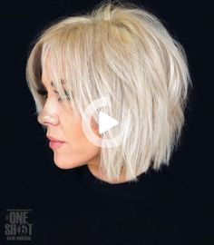 #10: White Blonde Choppy Piece-y Bob Bright blonde hair is a great way to rock a shaggy bob. Slice through the layers to achieve a more voluminous look. Lots of choppy layers will also help plump up flatness and disguise the problem areas if you're dealing with super-fine hair. #bobhairstyles Shaggy Bob Haircut, Short Choppy Haircuts, Bob Hairstyles For Fine Hair, Older Women Hairstyles, Stylish Hairstyles, Cut Hairstyles, Short Hair With Layers, Short Hair Cuts, Choppy Layers