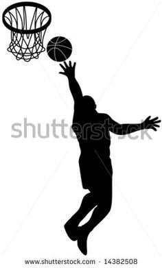 Basket player attacking the hoop - stock vector #basketball #silhouette #illustration