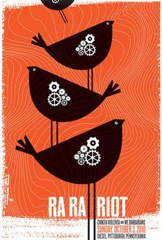 Ra Ra Riot / Chikita Violenta / We Barbarians. Poster design: strawberryluna (2010).