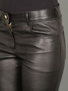 Indulge in leather w/ Givenchy four-pocket trousers in leather with zip closure at hems