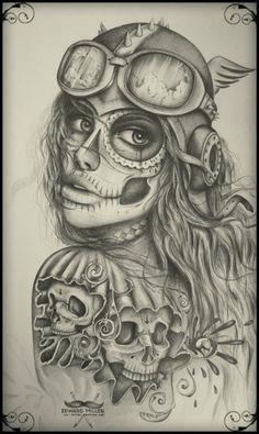 ink design, skulls by EdwardMiller on DeviantArt