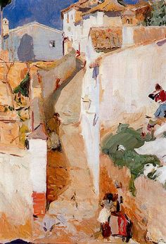 Joaquin Sorolla / Street in Granada Urban Landscape, Landscape Art, Landscape Paintings, Landscapes, Spanish Painters, Spanish Artists, Street Art, Paintings I Love, Oil Paintings