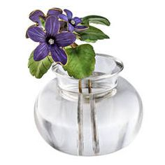 Important Provenanced Faberge Enameled Violets Rock Crystal Gold Flower Pot.