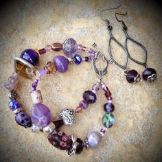 Double strand multi bead bracelet and earrings