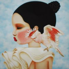 On Saturday we went to see an exhibition of new work by one of my favourite Australian artists, Poh Ling Yeow. Art And Illustration, Illustrations, Alley Cat, Goddess Art, Arte Pop, Pop Surrealism, Australian Artists, Whimsical Art, Bird Art