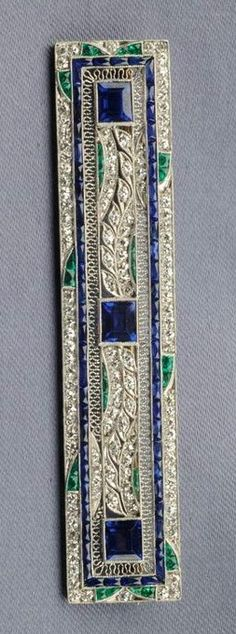Art Deco Platinum, Sapphire, Diamond, and Emerald Brooch