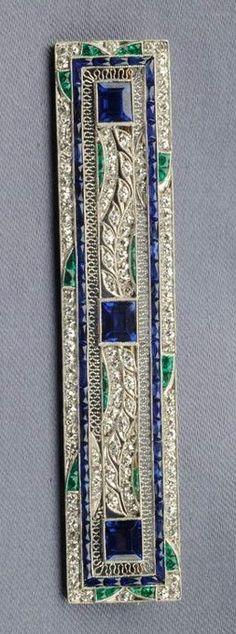 Art Deco Platinum, Sapphire, Diamond, and Emerald Brooch