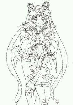 Super Sailor Moon and Super Sailor Chibi-Moon. Coloring Page.