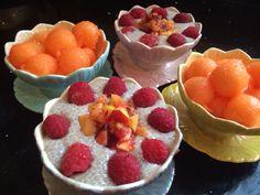 Chiaseed pudding and melon balls