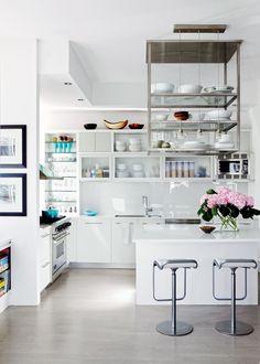 STYLECASTER | Kitchen Storage Ideas | Kitchen Island Hanging Shelf