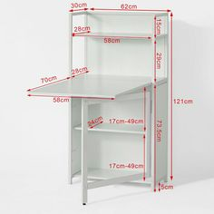 SoBuy® White Home Office 4 Tiers Bookcase Storage Shelves with Folding Writing Reading Laptop Desk Table Folding Furniture, Multifunctional Furniture, Smart Furniture, Space Saving Furniture, Table Furniture, Furniture Design, Furniture Storage, Furniture Outlet, Table Desk
