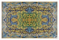 "Histoty / Pop - Messina Italian pottery by Ghenos: Tile mural, floor panel, table top - ""Arabesque"""