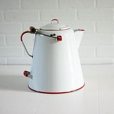 Enamel Coffee Pot , Large Vintage Enamelware ........... I HAVE ONE IDENTICAL TO THIS.
