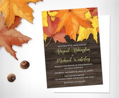 Getting married this Fall? Consider these perfectly #rustic #Autumn leaves #wedding invitations.  Find these invitations at artisticallyinvited.com