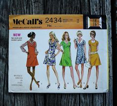 McCall 2434 1970s 70s A line  Mini Mod Dress  Vintage Sewing Pattern Size 12 Bust 34