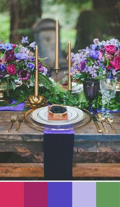 For a dramatic jewel toned color scheme pair purple with raspberry pink. Source: two foxes photography #tablescape #colorpalette