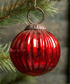 Red Ribbed Glass Ball Ornament - Set of 12 by Ragon House #zulily #zulilyfinds