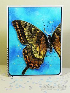 "2014 Supplies: Stamps (Stampin' Up! – Swallowtail, Gorgeous Grunge, I Like You); Cardstock (Recollections); Inks (Tsukineko Inc. – Memento – Black Tuxedo, Versamark, Delicata – Silvery Shimmer, Kaleidacolor ""Blue Breeze""), (Ranger Distress – Wild Honey, Spiced Marmalade); Spray ink (Tsukineko Inc. – Fireworks – Dandelion); Embossing Powder (Stampendous! – Detail Black)."