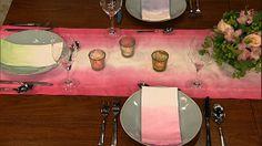 Dip Dye - Make a fun summer table runner and napkins with this easy, family friendly craft.