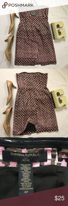 """Banana Republic Silk Strapless Pink Black Dress Geometric pink, white, brown, & black print  Fully Lined, 99% silk exterior  Front has two overlapping panels  16"""" across the top from side to side, 13.5"""" at the waist, 28.5"""" top to bottom  Superb, pre-owned condition!  Feel free to make me an offer! Banana Republic Dresses Strapless"""