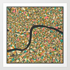 Abstract, beautiful maps by Jazzberry Blue. This one is London.