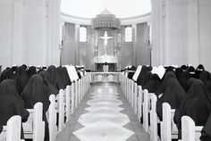 """Main Chapel at """"The Mount"""" (St. Francis Convent in Mishawaka)in the mid-1950's  Professed Sisters, Novices, Postulants and in the front rows - the Aspirants"""