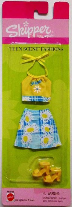 1999 Skipper Teen Scene Fashions Two Piece Daisy Plaid Halter and Skirt Set with Logo (New) Barbie 1990, Barbie Skipper, Barbie And Ken, Lucy Fashion, Teen Fashion, Fashion Dolls, Teen Fun, Barbie Clothes, Skirt Fashion