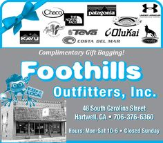 Complimentary Gift Bagging!    Hours:   Mon-Sat 10-6   Closed Sunday    KEEP IT LOCAL | Foothills Outfitters, Inc. - Hartwell, GA #georgia #HartwellGA #shoplocal #localGA