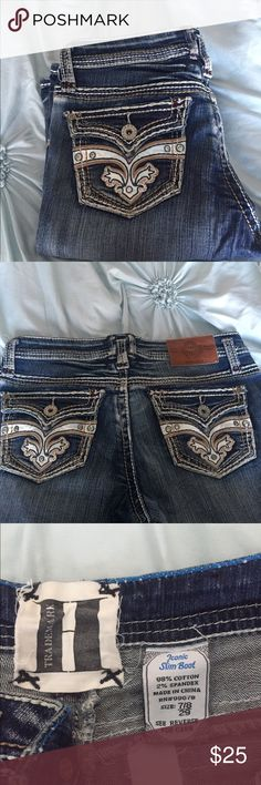 """H Iconic Jeans from Nordstrom Medium denim jeans with a little destruction, just the right amount to give them character. Measurements are 29"""" waist and 31.5"""" Inseam, and they are size 7/8. These jeans have been worn once maybe and cost $100+ originally. All of my items are from a non smoking, non cat environment and are firmly priced for one item. iconic Pants Boot Cut & Flare"""