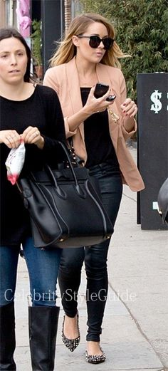 Seen on Celebrity Style Guide: Lauren Conrad wore the LC Lauren Conrad Crepe Blazer as she shops on 3rd st with a few friends after stopping into her friend Haylie Duff's book signing October 26 2013