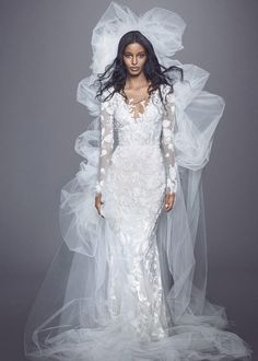 Marchesa Fall 2021 Bridal Collection. www.theweddingnotebook.com Trumpet Style Wedding Dress, Marchesa Wedding Dress, Marchesa Bridal, Mini Wedding Dresses, Strapless Lace Wedding Dress, Wedding Dress Necklines, Bridal Dresses, Bridal Gown, Wedding Gowns