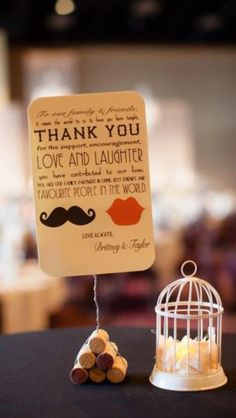 Thank-You Bar Table Cork Stands Wedding 2013