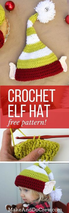 Free crochet elf hat pattern with ears! Make one for each member of the family. Perfect Christmas photo prop idea. Free pattern sizes include 0-3 months (newborn), 3-6 months (baby), 6-12 months, toddler/preschooler, child and adult. Click to see full pattern.