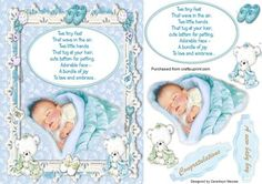 Beautiful New Baby Boy  on Craftsuprint designed by Ceredwyn Macrae - A lovely card Front to make and give to any new parent on the arrival of there baby boy a lovely card has two sentiment tags and also has a Beautiful Verse in a plaque, - Now available for download!