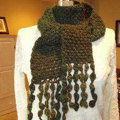 Crochet Wool Scarf,  Olive Avocado Green Loden Brown, Woodland Moss. $36.00, via Etsy.