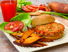 Salmon Burgers and Sweet Potato Oven Fries #veggies #grains #protein #MyPlate #WhatsCooking