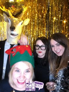 Christmas themed #GIF #photobooth for a Christmas party.  Sparkly gold backdrop