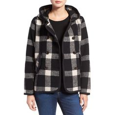 Women's Woolrich Century Wool Peacoat (4,300 MXN) ❤ liked on Polyvore featuring outerwear, coats, black plaid, short wool coat, plaid coat, wool peacoat, woolrich coats and wool coat