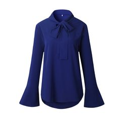 LOSSKY 2017 Autumn Thermosetting Belt Trumpet Sleeve Long sleeve Fashion Blouses Shirt Shiffon Shirts Female. Click visit to buy #Blouse #Shirt #BlouseShirt
