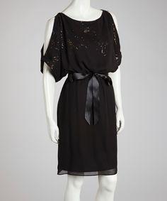 Black & Gold #Rhinestone #Cutout #Dress
