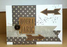 Een stoere kaart gemaat met stempels van het scrapbook atelier